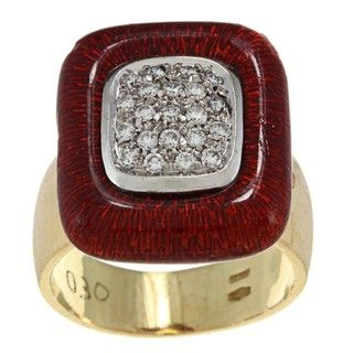 18k Yellow Gold 1/2ct TDW Diamond and Red Enamel Estate Ring (H I, SI1