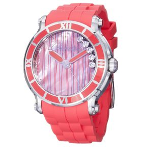 Chopard Womens Happy Sport Round Coral Red Rubber Strap Watch