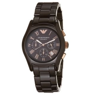 Emporio Armani Womens Ceramic Brown Chronograph Dial Watch
