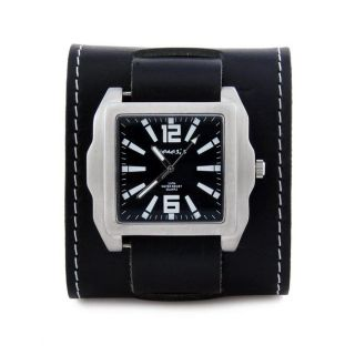 Nemesis Mens Signature Black Leather Cuff Watch