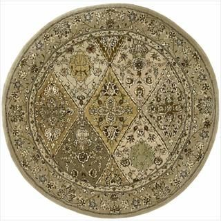 Hand Tufted Nourison 2000 Curved Diamonds Light Gold Rug (4 Round
