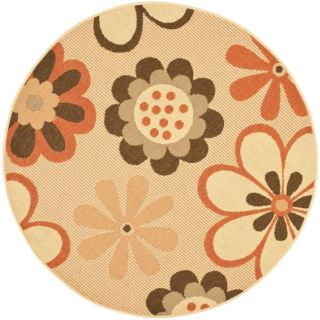 Indoor/ Outdoor Natural/ Terracotta Rug (67 Round)