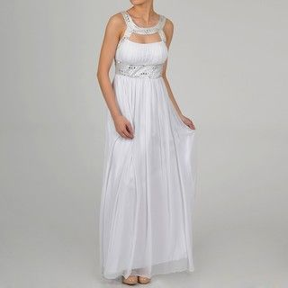 One By Eight Womens Ivory Chiffon Beaded Keyhole Gown