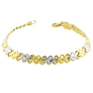 10k Two tone Gold Sideways Bar Tied Link Bracelet