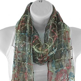 Hand woven Silk Antique Roses on Lattice Scarf (India)